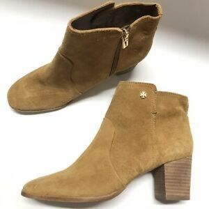 Tory Burch 7 Camel Sabe Suede Ankle Booties